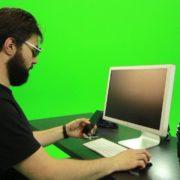 Beard-Man-Searching-in-the-Phone-Green-Screen-Footage_006 Green Screen Stock