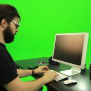 Beard-Man-Searching-in-the-Phone-Green-Screen-Footage_007 Green Screen Stock