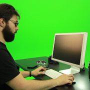 Beard-Man-Searching-in-the-Phone-Green-Screen-Footage_009 Green Screen Stock