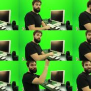 Beard-Man-Types-the-Code-for-Computer-Explosion-Green-Screen-Footage Green Screen Stock