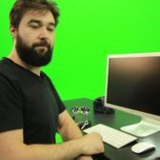 Beard-Man-Types-the-Code-for-Computer-Explosion-Green-Screen-Footage_002 Green Screen Stock