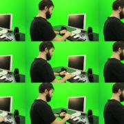 Beard-Man-Working-on-the-Computer-Green-Screen-Footage Green Screen Stock