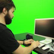 Beard-Man-Working-on-the-Computer-Green-Screen-Footage_001 Green Screen Stock