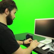 Beard-Man-Working-on-the-Computer-Green-Screen-Footage_004 Green Screen Stock