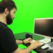 Beard-Man-Working-on-the-Computer-Green-Screen-Footage_005 Green Screen Stock