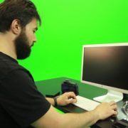 Beard-Man-Working-on-the-Computer-Green-Screen-Footage_006 Green Screen Stock