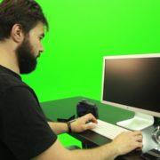 Beard-Man-Working-on-the-Computer-Green-Screen-Footage_007 Green Screen Stock