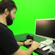 Beard-Man-Working-on-the-Computer-Green-Screen-Footage_008 Green Screen Stock