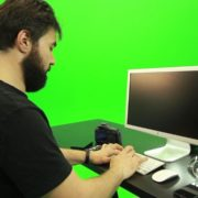 Beard-Man-Working-on-the-Computer-Green-Screen-Footage_009 Green Screen Stock