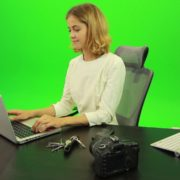 Business-Woman-Relaxing-and-Drinking-Coffee-after-Hard-Work-Green-Screen-Footage_002 Green Screen Stock