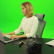 Business-Woman-Relaxing-and-Drinking-Coffee-after-Hard-Work-Green-Screen-Footage_004 Green Screen Stock