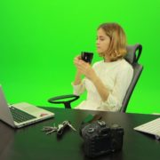 Business-Woman-Relaxing-and-Drinking-Coffee-after-Hard-Work-Green-Screen-Footage_006 Green Screen Stock