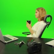 Business-Woman-Relaxing-and-Drinking-Coffee-after-Hard-Work-Green-Screen-Footage_007 Green Screen Stock