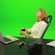 Business-Woman-Relaxing-and-Drinking-Coffee-after-Hard-Work-Green-Screen-Footage_008 Green Screen Stock