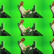 Laughing-Woman-Working-on-the-Computer-Green-Screen-Footage Green Screen Stock