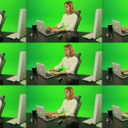 Serious-Business-Woman-Working-on-the-Computer-Green-Screen-Footage Green Screen Stock