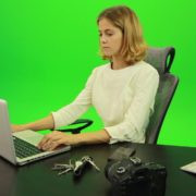 Serious-Business-Woman-Working-on-the-Computer-Green-Screen-Footage_004 Green Screen Stock