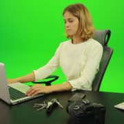 Serious-Business-Woman-Working-on-the-Computer-Green-Screen-Footage_009 Green Screen Stock