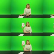 Woman-Gives-2-Points-3-Green-Screen-Footage Green Screen Stock