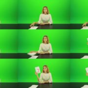 Woman-Gives-2-Points-4-Green-Screen-Footage Green Screen Stock