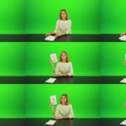 Woman-Gives-2-Points-Green-Screen-Footage Green Screen Stock