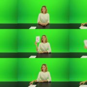 Woman-Gives-5-Points-Green-Screen-Footage Green Screen Stock