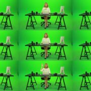 Woman-Rising-the-Hand-Green-Screen-Footage Green Screen Stock
