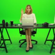Woman-Rising-the-Hand-Green-Screen-Footage_006 Green Screen Stock