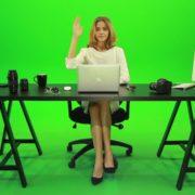 Woman-Rising-the-Hand-Green-Screen-Footage_007 Green Screen Stock