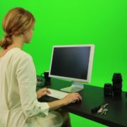 Woman-Sits-Down-and-Works-on-the-Computer-Green-Screen-Footage_005 Green Screen Stock