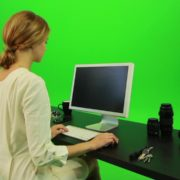 Woman-Sits-Down-and-Works-on-the-Computer-Green-Screen-Footage_009 Green Screen Stock