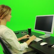 Woman-Working-on-the-Computer-3-Green-Screen-Footage_006 Green Screen Stock