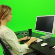 Woman-Working-on-the-Computer-3-Green-Screen-Footage_007 Green Screen Stock