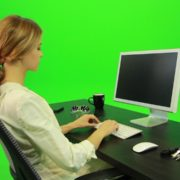 Woman-Working-on-the-Computer-3-Green-Screen-Footage_009 Green Screen Stock
