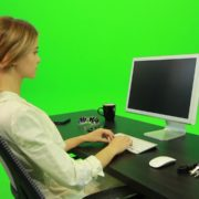 Woman-Working-on-the-Computer-4-Green-Screen-Footage_001 Green Screen Stock