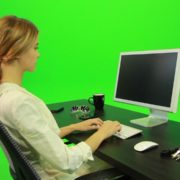 Woman-Working-on-the-Computer-4-Green-Screen-Footage_005 Green Screen Stock