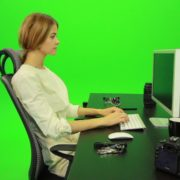 Woman-Working-on-the-Computer-6-Green-Screen-Footage_001 Green Screen Stock