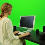 Woman-Working-on-the-Computer-Green-Screen-Footage_004 Green Screen Stock