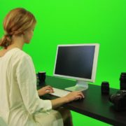 Woman-Working-on-the-Computer-Green-Screen-Footage_005 Green Screen Stock