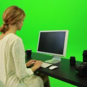 Woman-Working-on-the-Computer-Green-Screen-Footage_006 Green Screen Stock