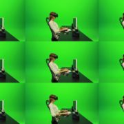 Woman-Working-on-the-Computer-Using-VR-2-Green-Screen-Footage Green Screen Stock