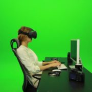 Woman-Working-on-the-Computer-Using-VR-2-Green-Screen-Footage_006 Green Screen Stock