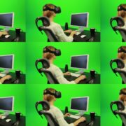 Woman-Working-on-the-Computer-Using-VR-Green-Screen-Footage Green Screen Stock