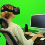 Woman-Working-on-the-Computer-Using-VR-Green-Screen-Footage_001 Green Screen Stock