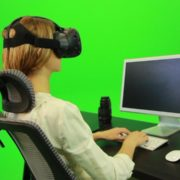 Woman-Working-on-the-Computer-Using-VR-Green-Screen-Footage_002 Green Screen Stock