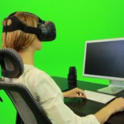 Woman-Working-on-the-Computer-Using-VR-Green-Screen-Footage_005 Green Screen Stock
