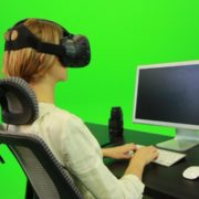 Woman-Working-on-the-Computer-Using-VR-Green-Screen-Footage_006 Green Screen Stock