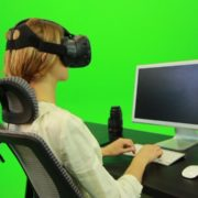 Woman-Working-on-the-Computer-Using-VR-Green-Screen-Footage_007 Green Screen Stock
