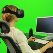 Woman-Working-on-the-Computer-Using-VR-Green-Screen-Footage_008 Green Screen Stock