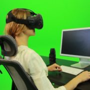 Woman-Working-on-the-Computer-Using-VR-Green-Screen-Footage_009 Green Screen Stock